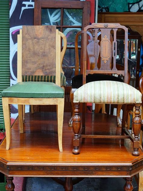 antique chairs   cane seats greece stock photo