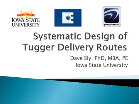 Isu Pro Mba by Tugger Route Generation Flow Planner Dr Dave Sly