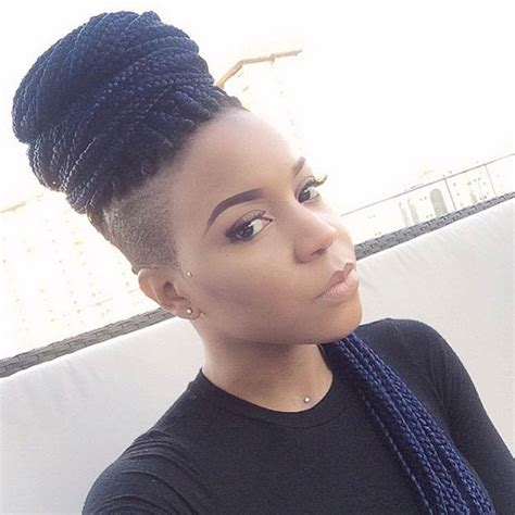 Head Shaved On Sides With Bun On Top | 50 box braids hairstyles that turn heads shaved sides
