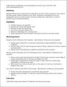 Revenue Sle Resume by Professional Revenue Cycle Specialist Templates To Showcase Your Talent Myperfectresume