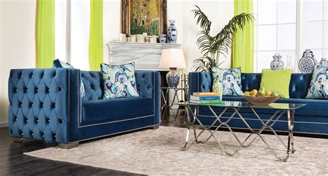 blue living room furniture salvatore living room set lapis blue furniture of