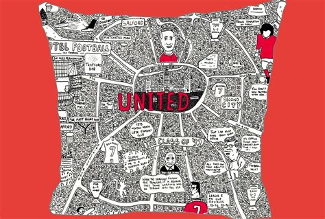 doodle manchester united united doodle map cushion button upholstery