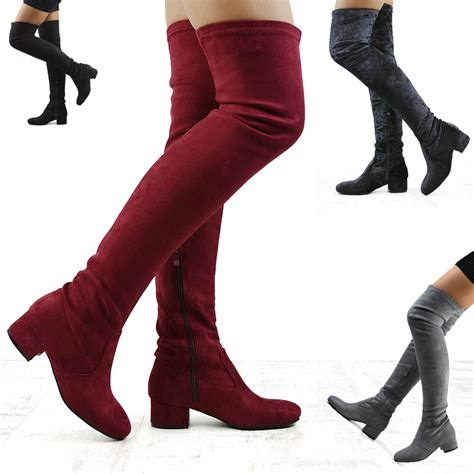 womens thigh high chunky low heel zip stretch