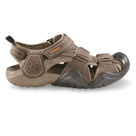 mens crocs sandals crocs s swiftwater leather fisherman sandals 676669