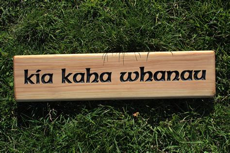 kia kaha whanau macrocarpa wooden sign wooden signs