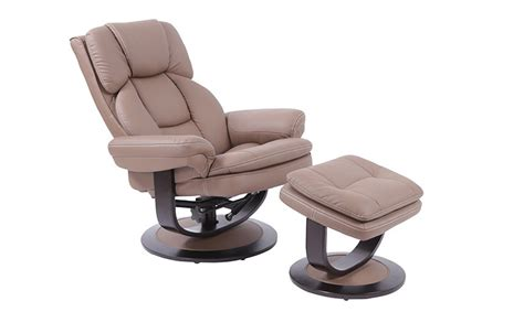 idaho swivel recliner chair and stool in light brown pu