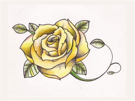 tattoo yellow rose yellow design