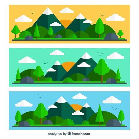 design banner landscape mountain landscape banners in flat design vector free