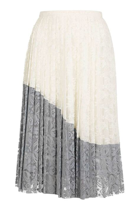 topshop lace pleated skirt in multicolor multi lyst