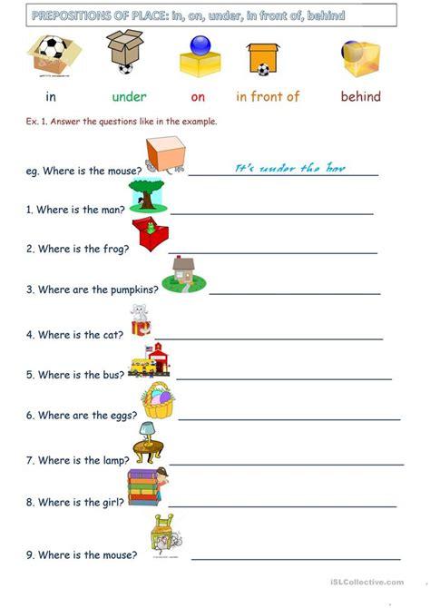 Preposition Worksheets by Prepositions Of Place Worksheet Free Esl Printable
