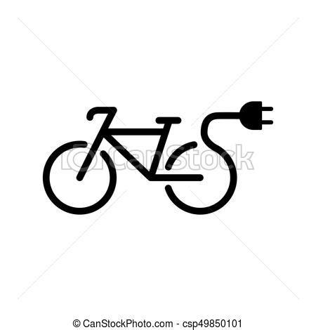 Electro bicycle bike e-bike icon on white background. E Bike Clipart