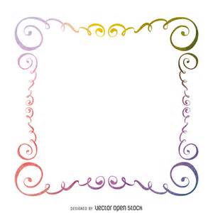 Floral Flower Design Watercolor Swirls Frame Free Vector
