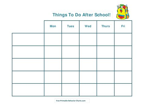 School Template Printable free printable after school schedule templates at