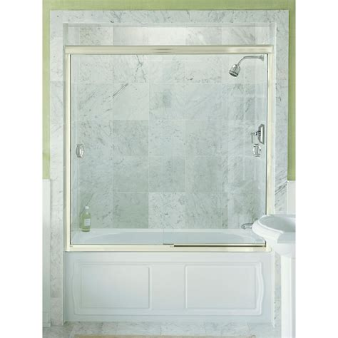 kohler devonshire bypass shower door in bright silver