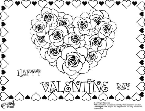 coloring pages of hearts with roses rose valentine heart coloring pages team colors