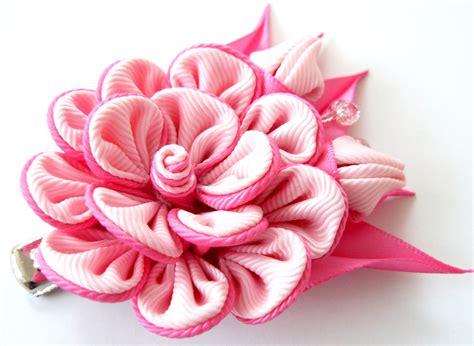 kanzashi fabric flower hair clip pink fabric flower