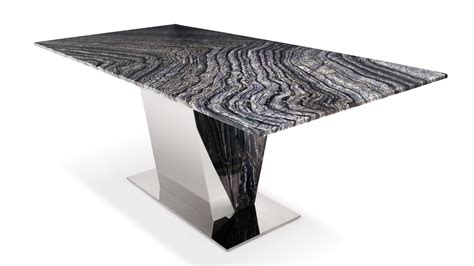 Barolo Marble Dining Table With Polished Stainless Steel Black And White Marble Dining Table