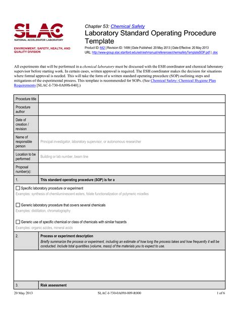 standard operating procedure template sanjonmotel
