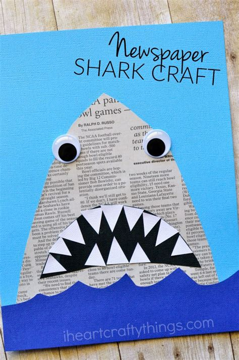 easy shark crafts for newspaper shark craft i crafty things