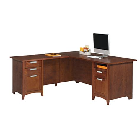 Desks At Office Max Realspace Marbury L Shaped Desk Auburn Brown By Office Depot Officemax