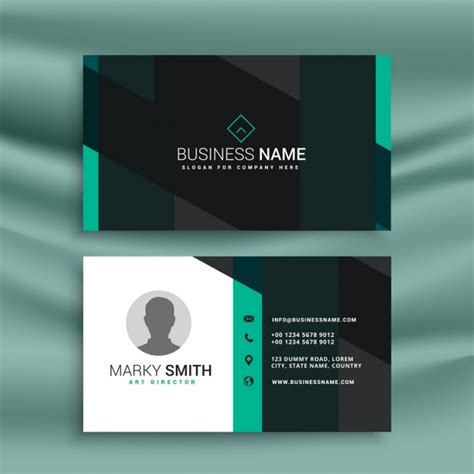 black business card template vector blue and black business card with geometric shapes vector
