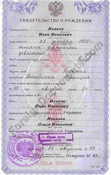 russian birth certificate translation