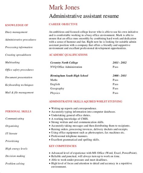 Sle Resume For Real Estate Administrative Assistant Administrative Assistant Resume Template Documents