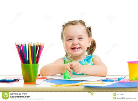 Drawing Room Interior Design Photos Happy Kid Drawing And Making By Hands Stock Photo Image