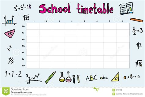 timetable stock vector image of math illustration