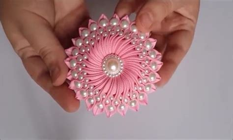 Diy Flower Craft How To Make A Ribbon Flower With Beads