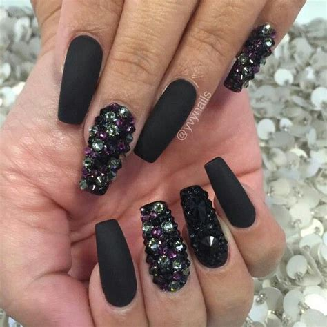 Nail With Nail Only by Black Bling Nails Swarovski Crystals Nail Design