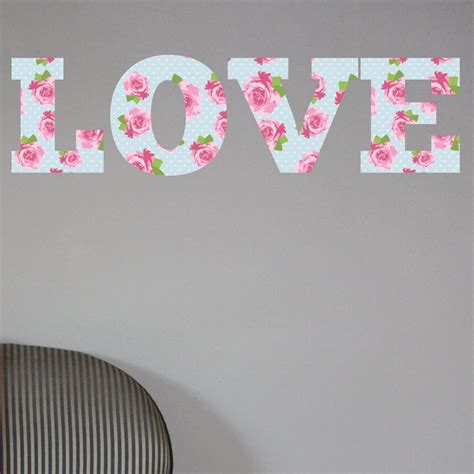 love shabby chic floral full colour wall sticker decal