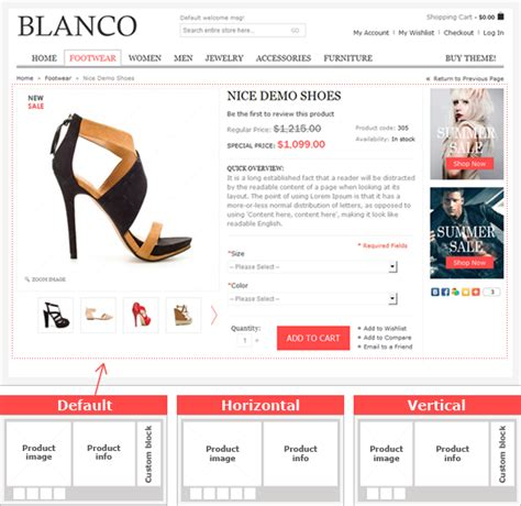 product page design template blanco ecommerce magento theme from 8theme ltd
