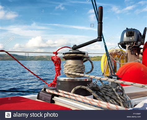 boat winch photos winch on a sailing boat stock photos winch on a sailing