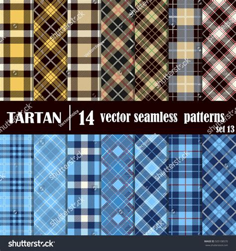 plaid pattern en espanol set tartan seamless patterntrendy illustration