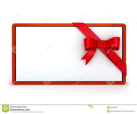 Stk Gift Card - 3d gift card with ribbon stock photos image 33409433