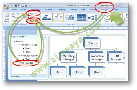 cara membuat struktur organisasi menggunakan smartart cara mengedit jabatan unit struktur organisasi smart art