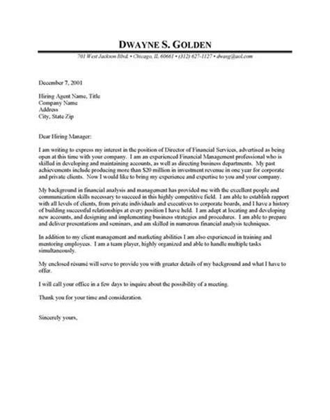 financial cover letter financial cover letters sle financial cover letter