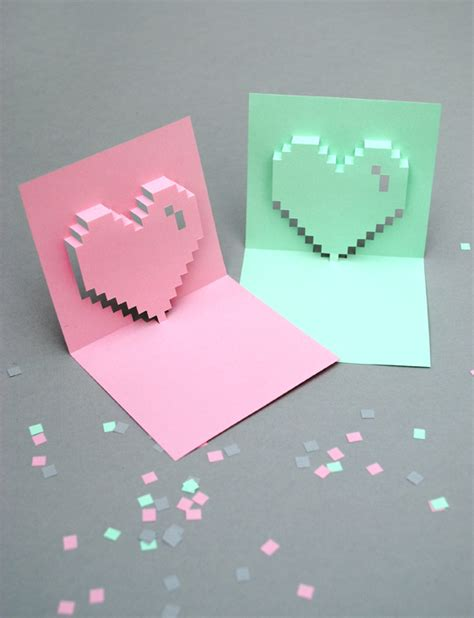 3d pixel card template popup pixel valentines card 2013 new improved minieco
