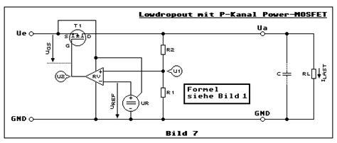 transistor durch fet ersetzen spannungsregler spezial low dropout 78xx prinzip lm317 prinzip strombegrenzung power mos fet