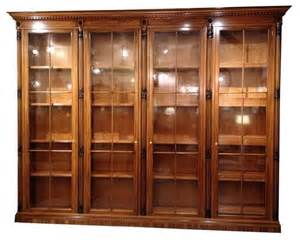 Library Cabinets With Glass Doors Pre Owned Italian Bookcase Library With Glass Doors Traditional Storage Cabinets By Chairish