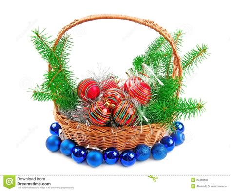 christmas decorations and spruce twigs royalty free stock