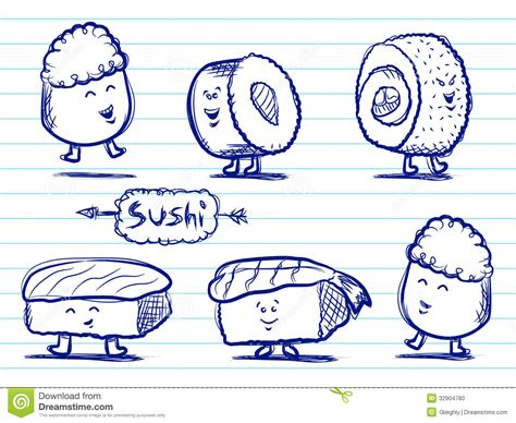 how to draw doodle characters sushi doodles stock photo image 32904780