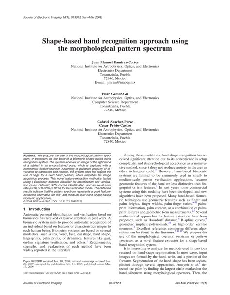 pattern recognition journal pdf shape based hand recognition approach pdf download