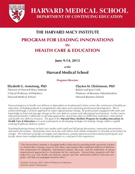 Harvard Md Mba Curriculum by Harvard Macy Institute Program For Leading Innovations In