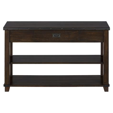 sofa table with drawer cassidy brown traditional plank top sofa table with drawer