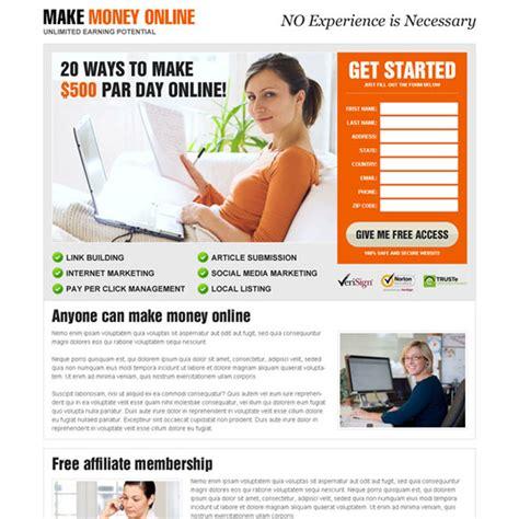 Make Money Online Landing Page - best make money online lead capture responsive landing page design