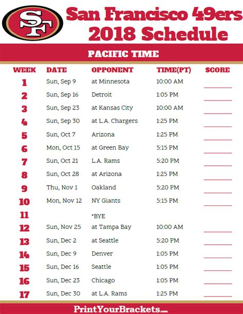 printable version of nfl schedule san francisco 49ers 2017 schedule pacific time printable