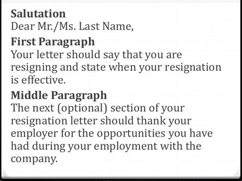 What Should A Letter Of Resignation Say by Resignation Letter Powerpoint