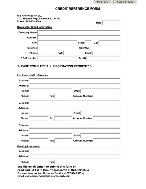 reference form template business credit reference template free printable documents
